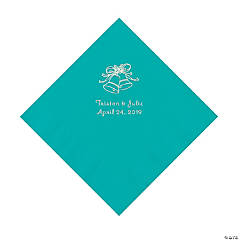 Teal Lagoon Wedding Bell Personalized Napkins with Silver Foil - Luncheon