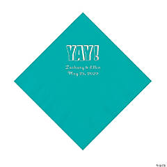 Teal Lagoon Yay Personalized Napkins with Silver Foil - Luncheon