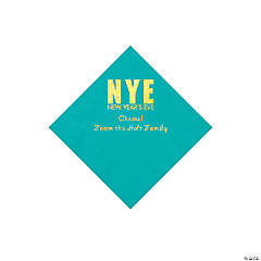 Teal New Year's Eve Personalized Napkins with Gold Foil - Beverage