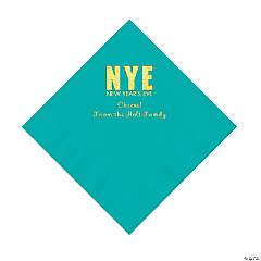 Teal New Year's Eve Personalized Napkins with Gold Foil - Luncheon
