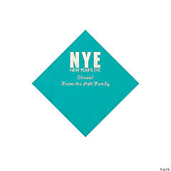 Teal New Year's Eve Personalized Napkins with Silver Foil - Beverage