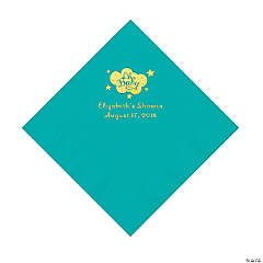 Teal Oh Baby Personalized Napkins with Gold Foil – Luncheon