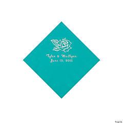 Teal Rose Personalized Napkins - Beverage
