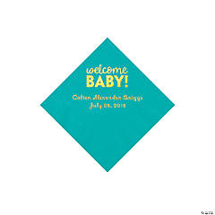 Teal Welcome Baby Personalized Napkins with Gold Foil - Beverage