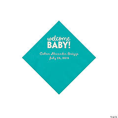 Teal Welcome Baby Personalized Napkins with Silver Foil - Beverage