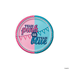 Team Pink or Team Blue Paper Dessert Plates