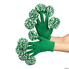 Team Spirit Green & White Pom-Pom Gloves