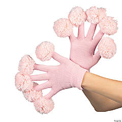 Team Spirit Pink & White Pom-Pom Gloves
