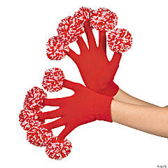 Team Spirit Red & White Pom-Pom Gloves