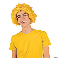 Team Spirit Yellow Afro Wig