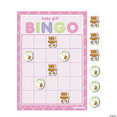Teddy Baby Pink Baby Shower Bingo Game