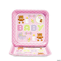 Teddy Baby Pink Baby Shower Square Dinner Plates