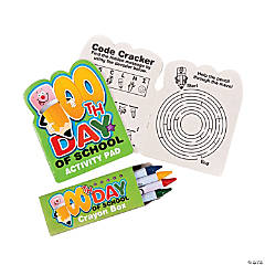 12 100th Day of School Activity Pads with Crayons
