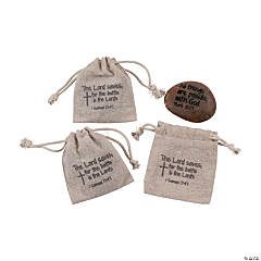 """""""The Lord Saves"""" Stones in Pouches"""