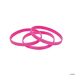 Thin Pink Ribbon Rubber Bracelets