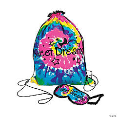 Tie-Dyed Sleepover Drawstring Bag with Eye Mask