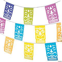 Tiki Cutout Plastic Pennant Banner