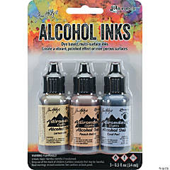 Tim Holtz Alcohol Ink .5Oz 3/Pkg-Wildflowers-Lemonade/Peach Bellini/Peri