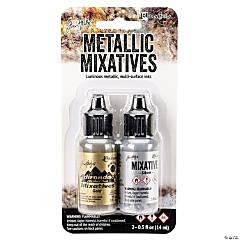 Tim Holtz Alcohol Ink Metallic Mixatives .5oz 2/Pkg, Gold & Silver