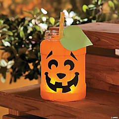 Tissue Paper Square Pumpkin Jar Kids Craft Idea