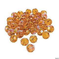 Topaz Aurora Borealis Cut Crystal Round Beads - 8mm