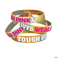 Tough Guys Camo Pink Ribbon Rubber Bracelets