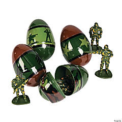 Toy-Filled Army Plastic Easter Eggs - 12 Pc.