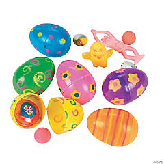 Toy-Filled Printed Bright Plastic Easter Eggs