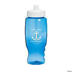 Transparent Blue Anchor Personalized Water Bottles - 27 oz.