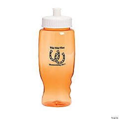 Transparent Orange Horseshoe Personalized Water Bottles - 27 oz.