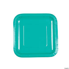 Tropical Teal Square Dessert Plates