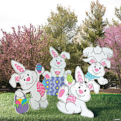 Tumbling Bunnies Yard Stakes