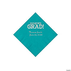 Turqouise Congrats Grad Personalized Napkins with Silver Foil - Beverage
