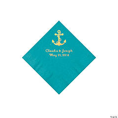 Turquoise Anchor Personalized Napkins with Gold Foil - Beverage