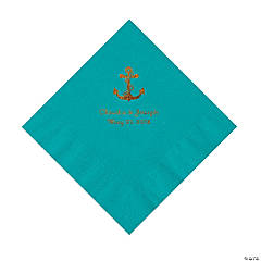 Turquoise Anchor Personalized Napkins with Gold Foil - Luncheon