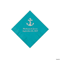 Turquoise Anchor Personalized Napkins with Silver Foil - Beverage