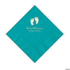 Turquoise Baby Feet Personalized Napkins with Silver Foil - Luncheon