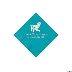 Turquoise Beach Chair Personalized Napkins with Silver Foil - Beverage