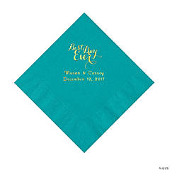 Turquoise Best Day Ever Personalized Napkins with Gold Foil – Luncheon