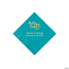 Turquoise Best Day Personalized Napkins with Gold Foil - Beverage