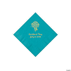 Turquoise Bouquet Personalized Napkins with Gold Foil - Beverage