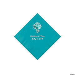 Turquoise Bouquet Personalized Napkins with Silver Foil - Beverage