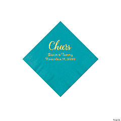 Turquoise Cheers Personalized Napkins with Gold Foil - Beverage
