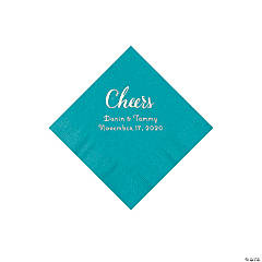 Turquoise Cheers Personalized Napkins with Silver Foil - Beverage
