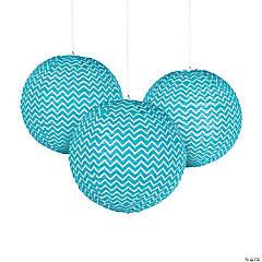 Turquoise Chevron Hanging Paper Lanterns