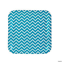 Turquoise Chevron Paper Dinner Plates