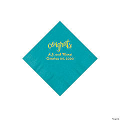 Turquoise Congrats Personalized Napkins with Gold Foil - Beverage