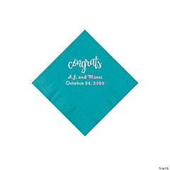 Turquoise Congrats Personalized Napkins with Silver Foil - Beverage