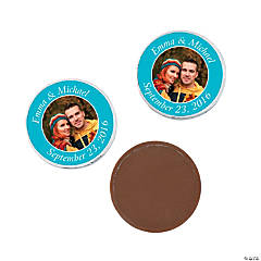 Turquoise Custom Photo Chocolate Coins