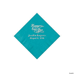 Turquoise Happy Ever After Personalized Napkins - Luncheon
